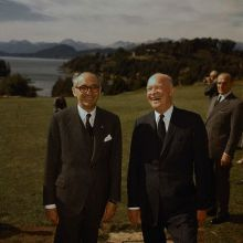 27 Feb 1960, Bariloche, Argentina --- Bariloche, Argentina: President Eisenhower and Argentine President Frondizi enjoy a hearty laugh at Bariloche, where Ike spent some time resting during his South American tour. --- Image by © Bettmann/CORBIS